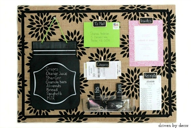 Great Tutorial To Create Cute Patterned Burlap Bulletin Board