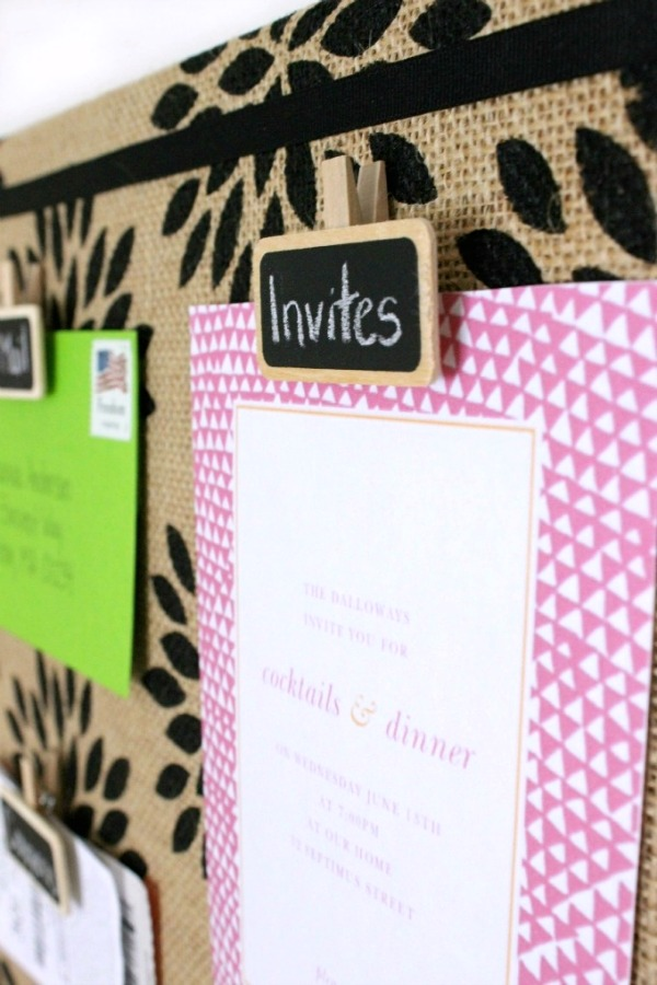 Love the idea of using re-writeable chalkboard clips like this for a bulletin board