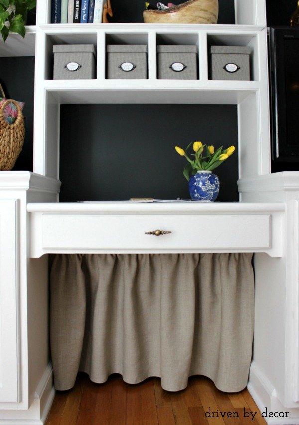 Simple DIY skirt covers all of the under the desk cord clutter!
