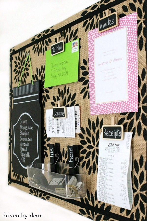 Getting Organized Diy Burlap Bulletin Board Driven By Decor