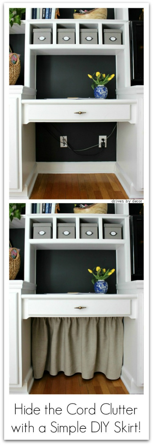 Smart and simple way to hide under-the-desk cord clutter!