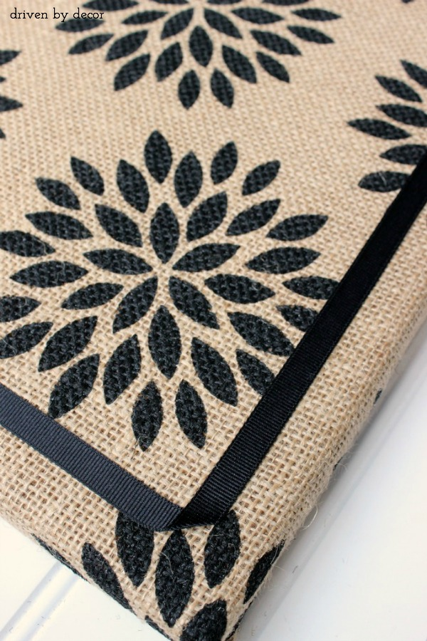 Super cute patterned burlap used to create a burlap covered cork board