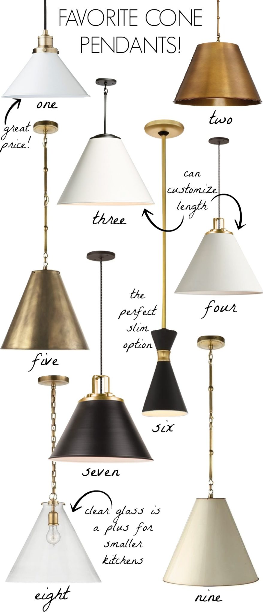 Love all of these cone pendant lights - love them over kitchen islands! Black, white, or brass and skinny or wide - so many options!!