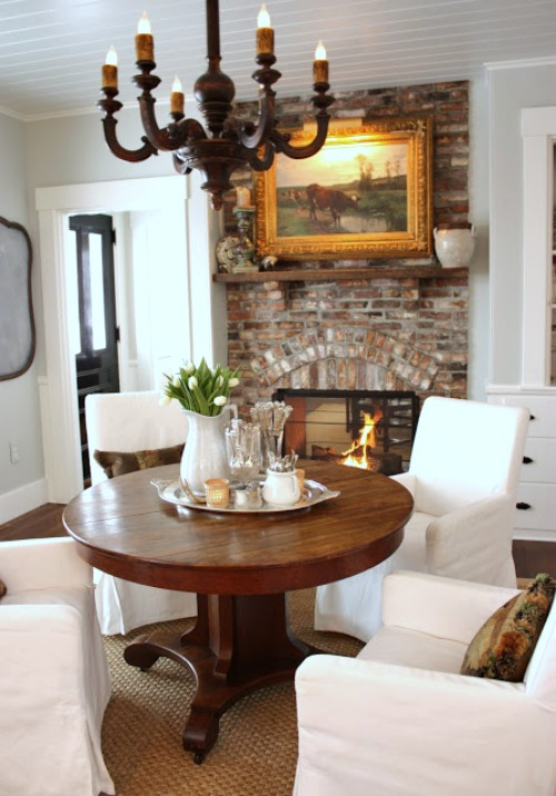 Gorgeous breakfast area with round pedestal table