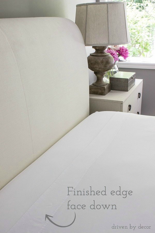 Place the finished top edge of your sheet face down so the pretty side will be revealed when it's pulled back