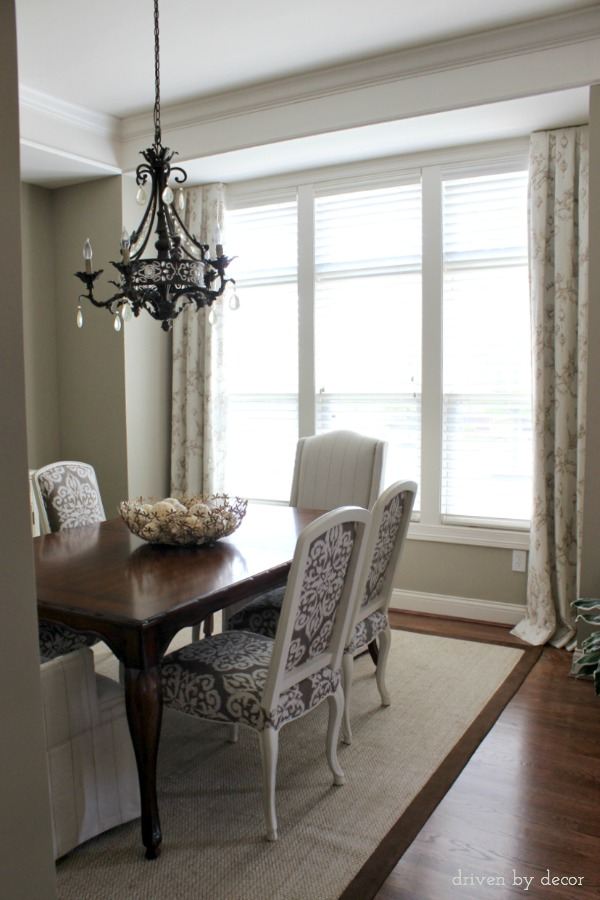 Simple dining room drapes for framed windows