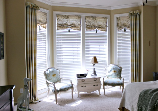 Window treatments for those tricky windows driven by decor for Bedroom bay window treatments