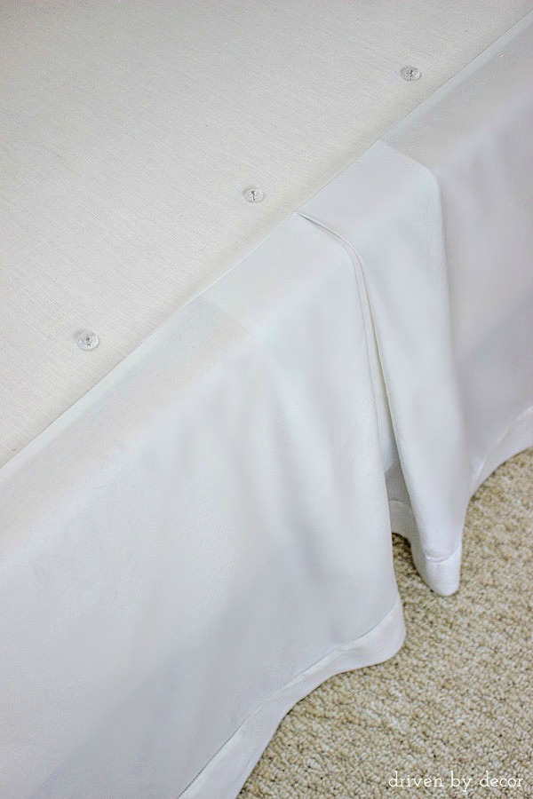 Use upholstery twist pins to secure your bedskirt and help keep it in place!