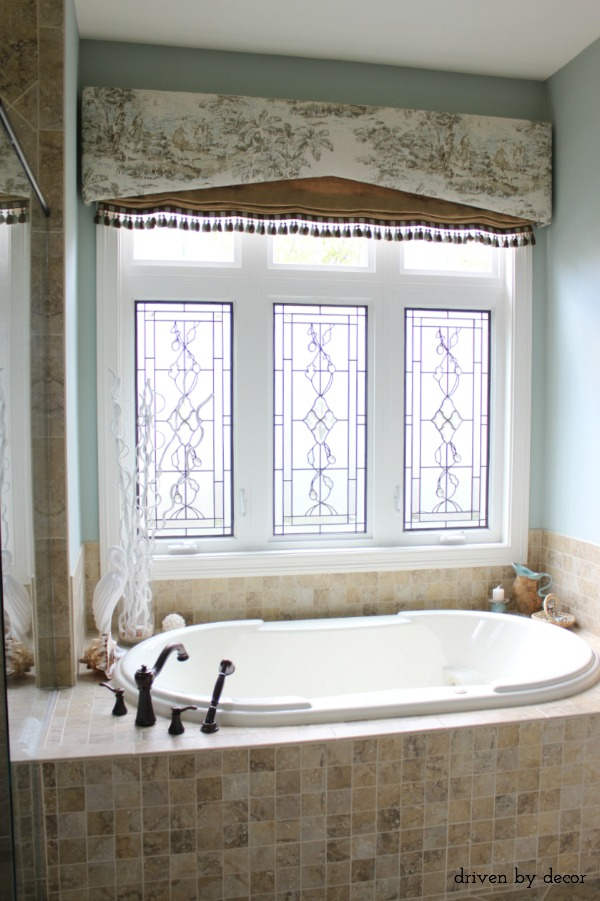 Window treatments for those tricky windows driven by decor for Bathroom window treatments