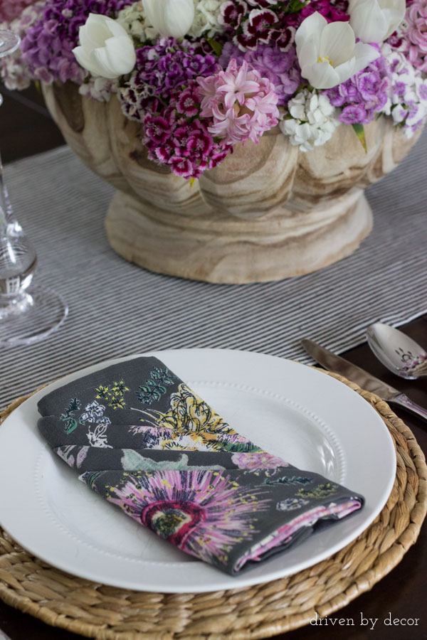 Colorful folded napkins dress up this summery dining table
