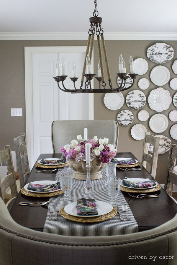 Dining room decorated for spring dinner party