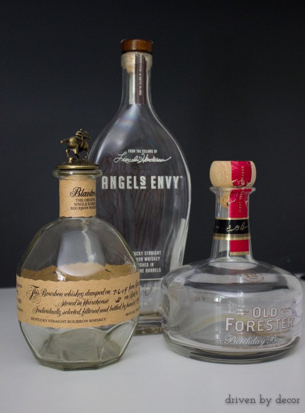 Liquor bottles that will be transformed into pretty vases