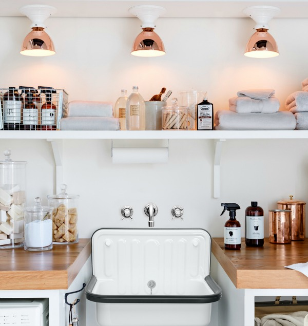 Rejuvenation Copper flush-mount lights in beautiful kitchen
