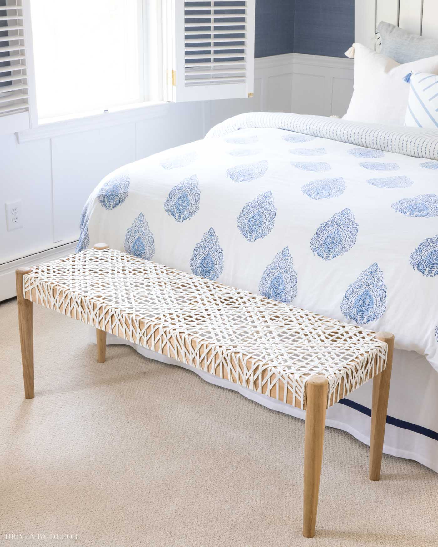 Such a pretty bench that works great at the foot of a bed!