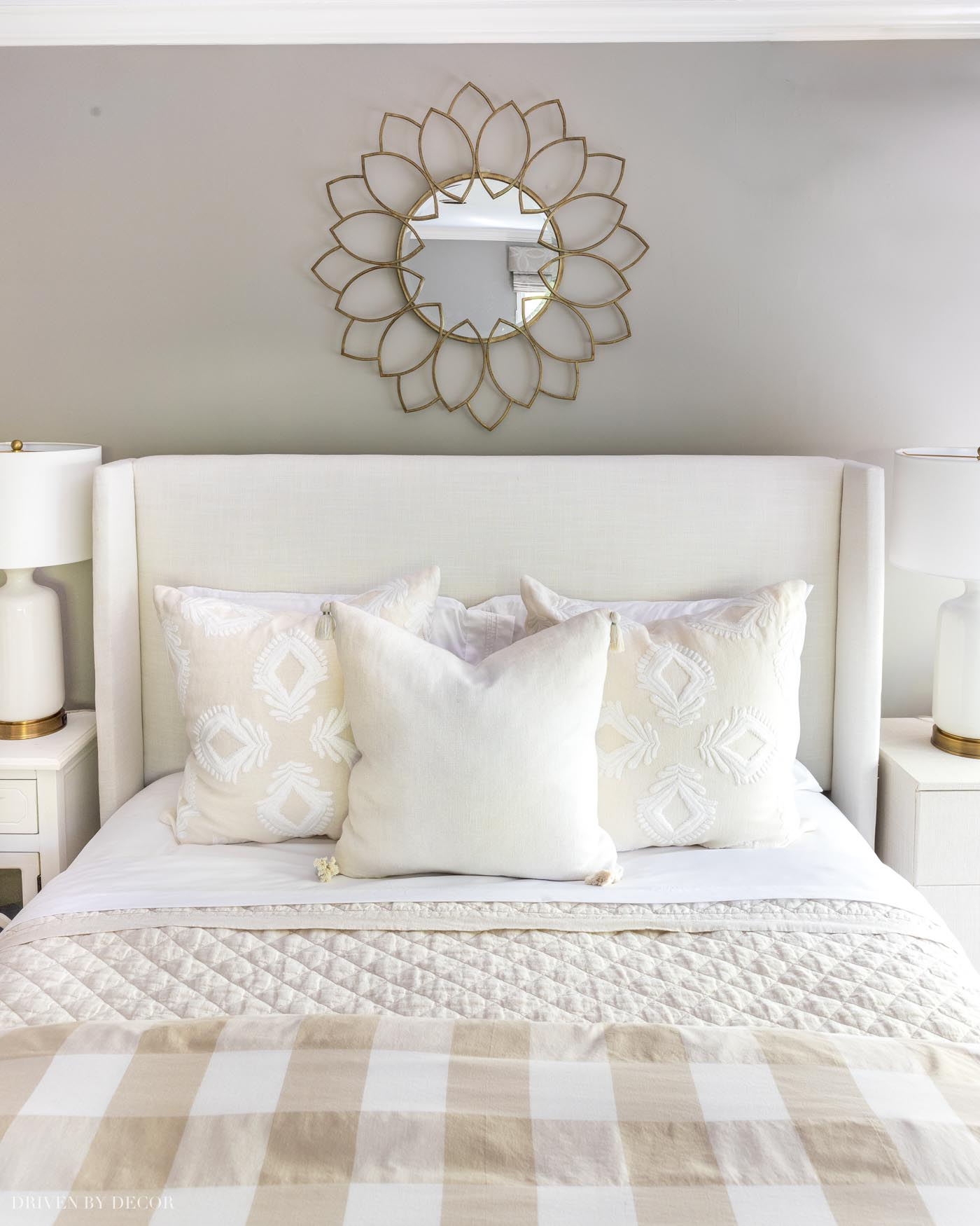 Simple arrangement of pillows on a queen bed