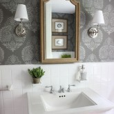 Bathroom makeover with stenciled walls - such a huge change from the before pics!