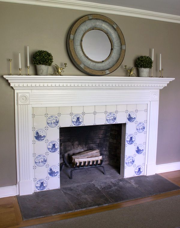 Fireplace with blue and white Delft tile