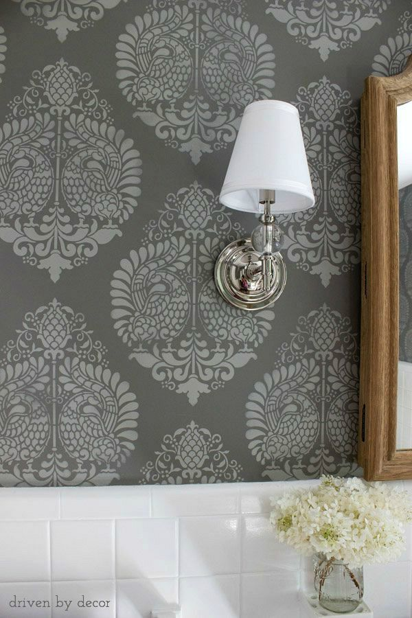 Stenciled walls - look so much like wallpaper!