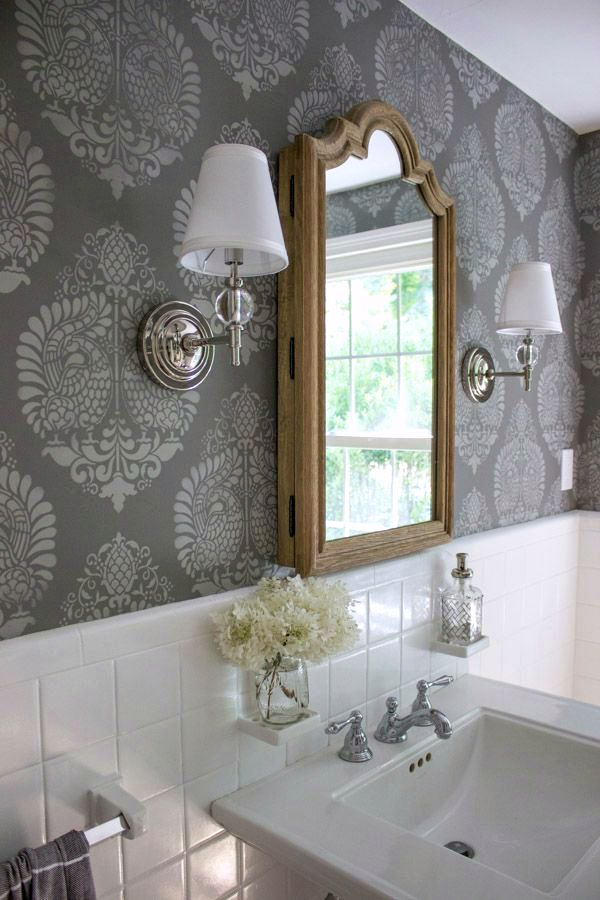 Tone on tone gray stenciling - looks like wallpaper!