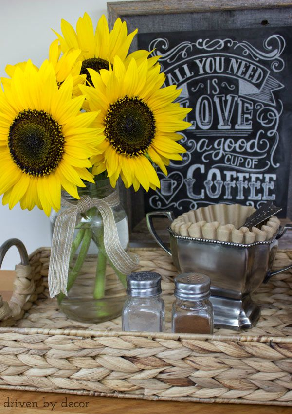 Kitchen coffee station brightened up with a bouquet of sunflowers