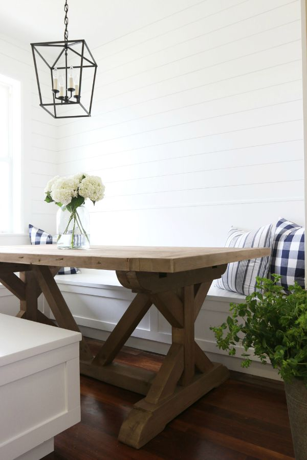 Favorite farmhouse trestle tables progress on our for Kitchen banquette table
