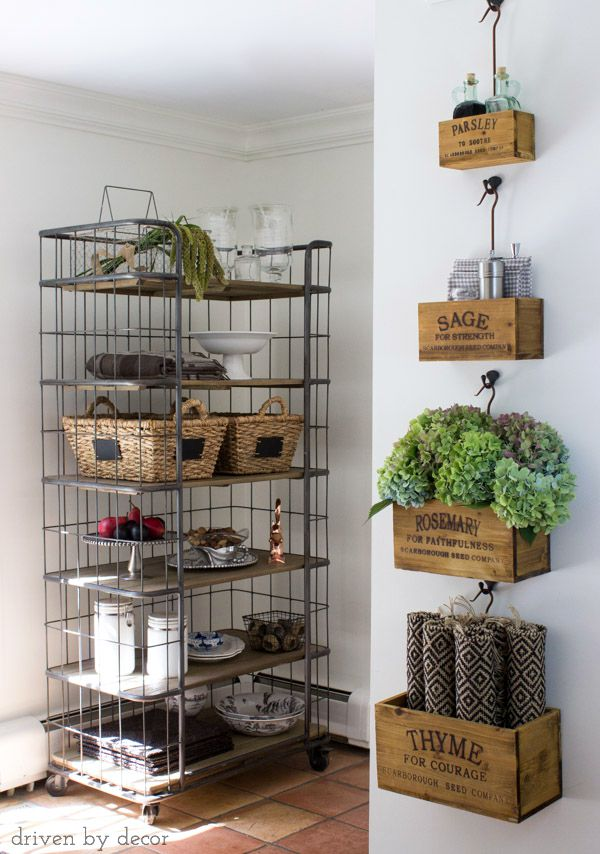 Nesting herb crates and baker's rack decorated for fall!