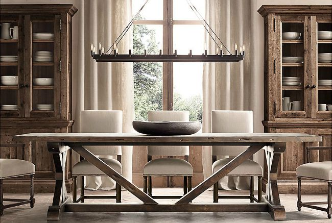 Restoration Hardware Salvaged Wood X Base Dining Table