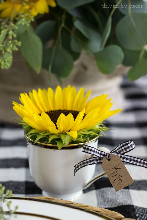 Sunflower in teacup vase with placecard name tag - perfect for a fall dinner party!