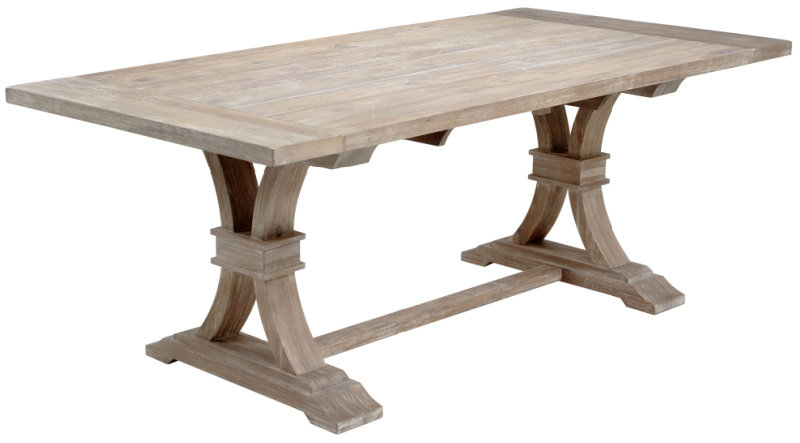 A gorgeous farmhouse trestle table that can be expanded with leaves!