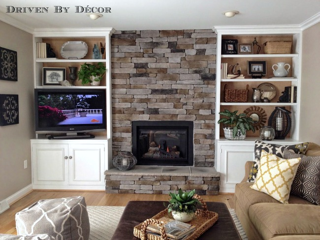 Family room with stone fireplace. 6 Tips for Being a HomeGoods Power Shopper   Driven by Decor