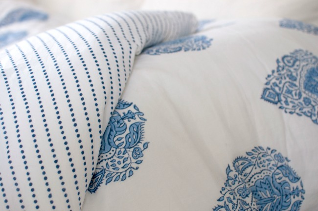 Kalyana Textiles blue and white duvet