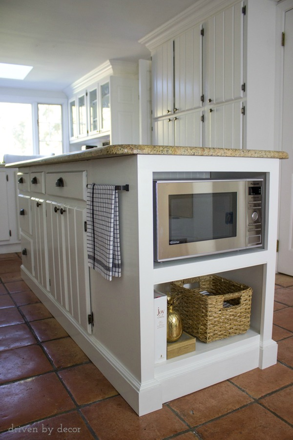 Our remodeled kitchen island with built in microwave shelf for Kitchen designs microwave