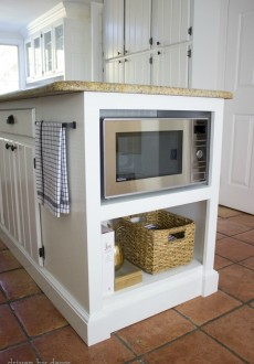 Our Remodeled Kitchen Island with Built-in Microwave Shelf