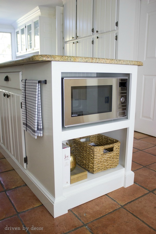 Our Remodeled Kitchen Island with Built-in Microwave Shelf | Driven ...