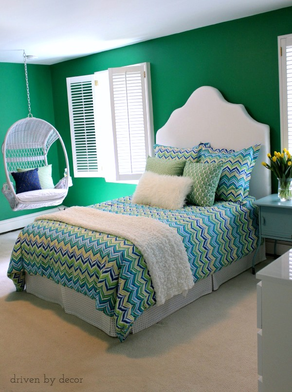 Tween bedroom in vibrant shades of green and blue