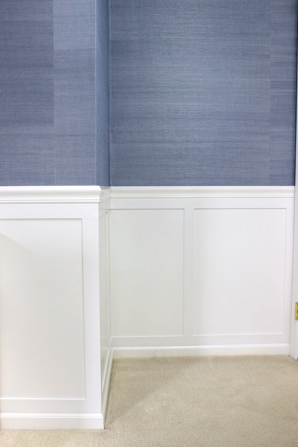 Board and batten molding and grasscloth wallpaper