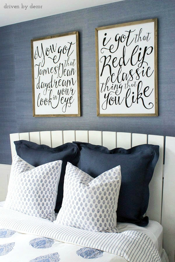 Classic blue and white bedroom with several fun touches that make it perfect for a teen