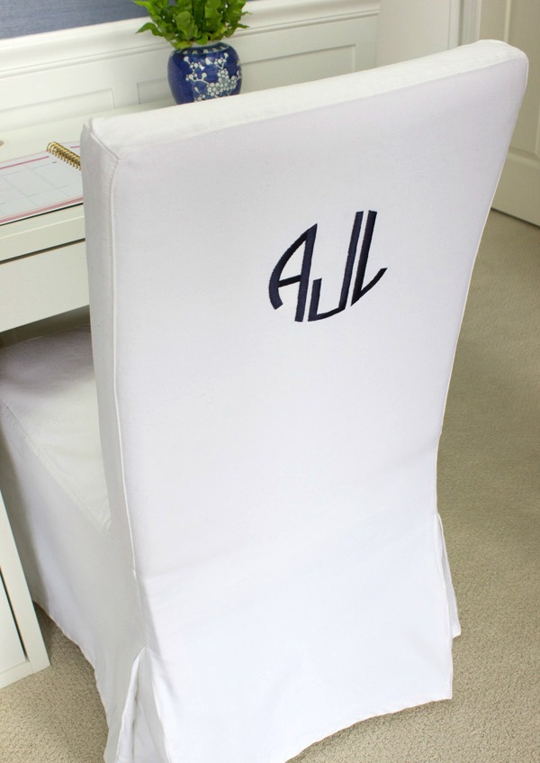 Monogram added to back of IKEA Henriksdal slipcovered chair
