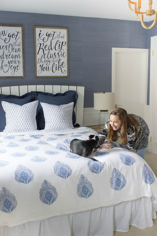 Modern coastal bedroom makeover reveal driven by decor - Bedroom colors for teenage girl ...