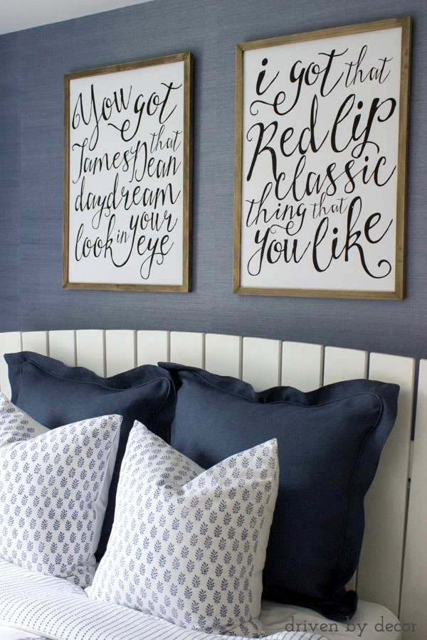 Taylor Swift song prints - so perfect for a teen bedroom!