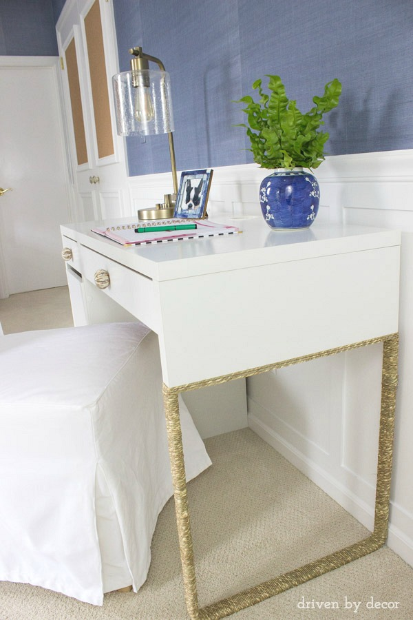 Thin rope was wrapped around the base of this IKEA MICKE desk to add interest - love it!