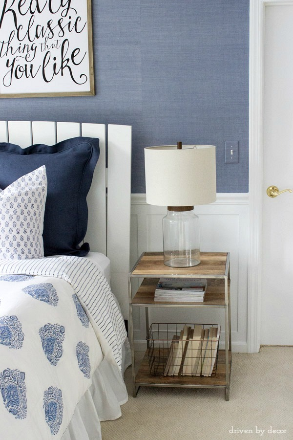 Wood and metal nightstand and fillable glass lamp