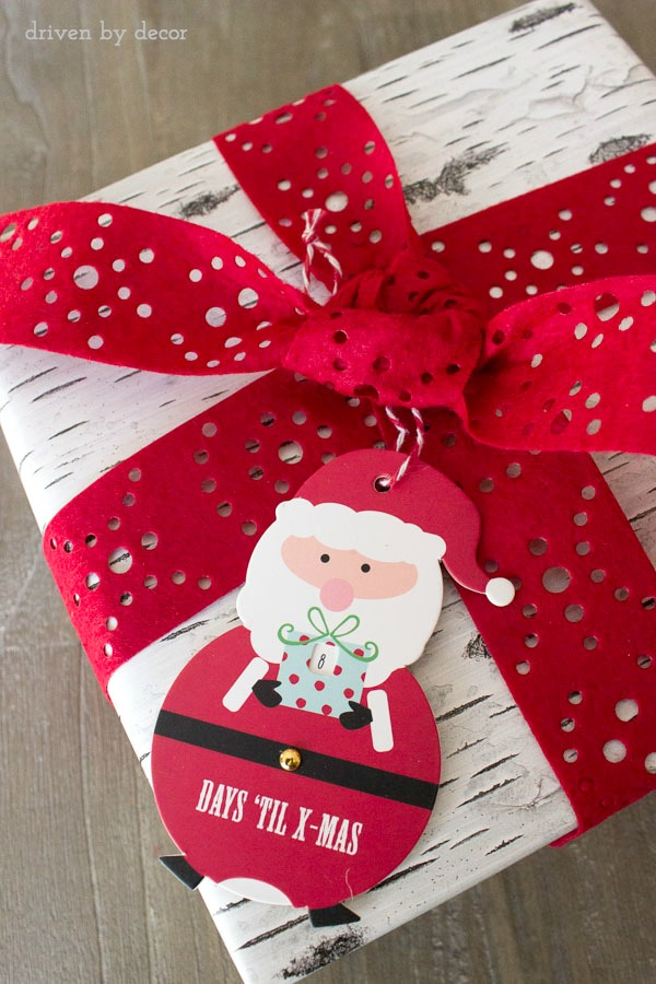 Holiday present with Christmas countdown tag