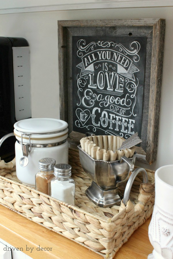 Love this cute and simple home coffee station