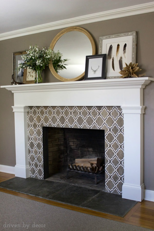 Stunning Fireplace Tile Also Love The Large Round Mirror And Layered Artwork