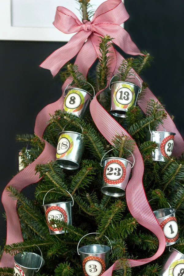 Tabletop tree turned into an advent calendar with mini galvanized buckets of treats!