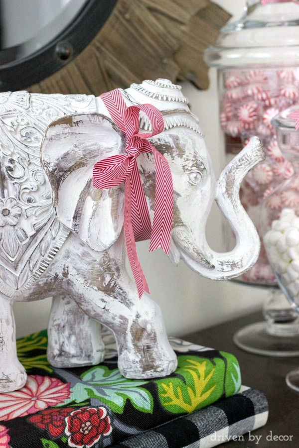 The simple addition of some holiday ribbon dresses up your everyday home accessories