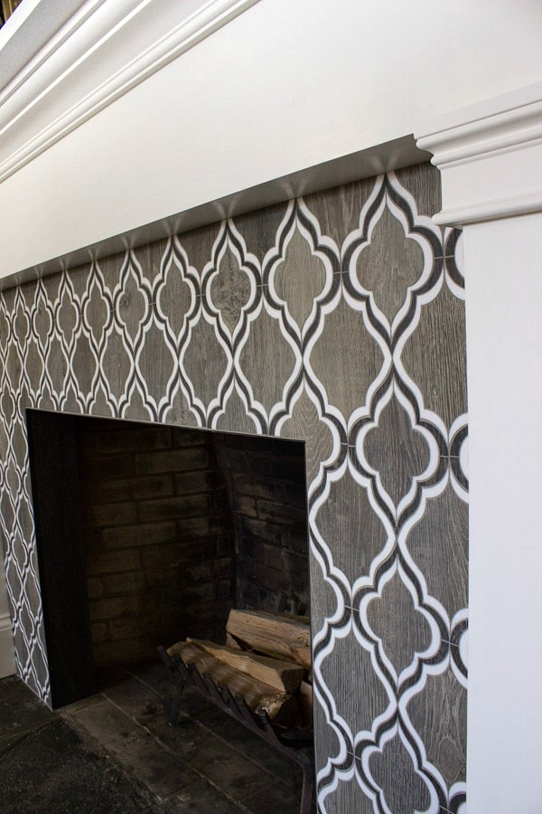 Walker Zanger Sterling Row Wingtip tile - love it on this fireplace!