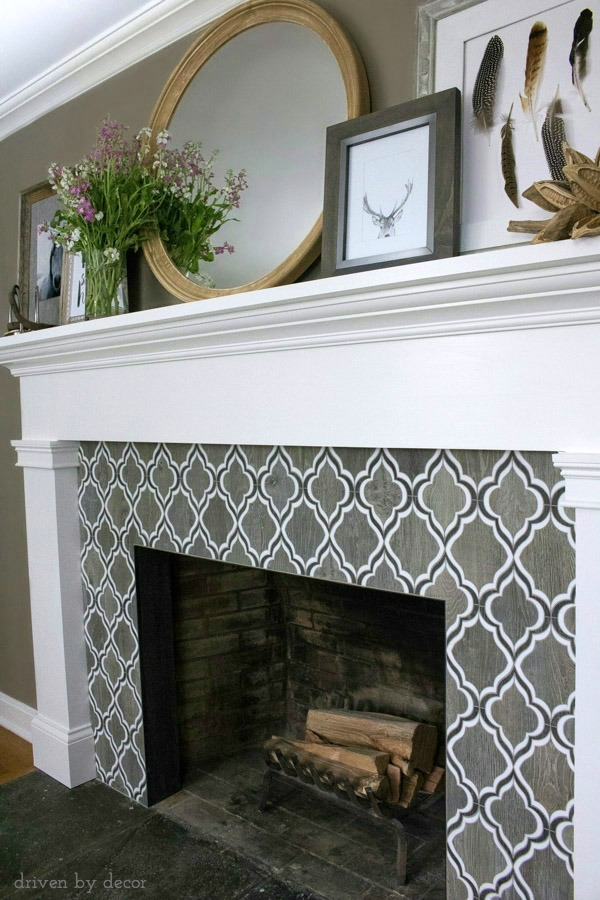 Fireplace with Walker Zanger Sterling Row wood-toned tile - love it!