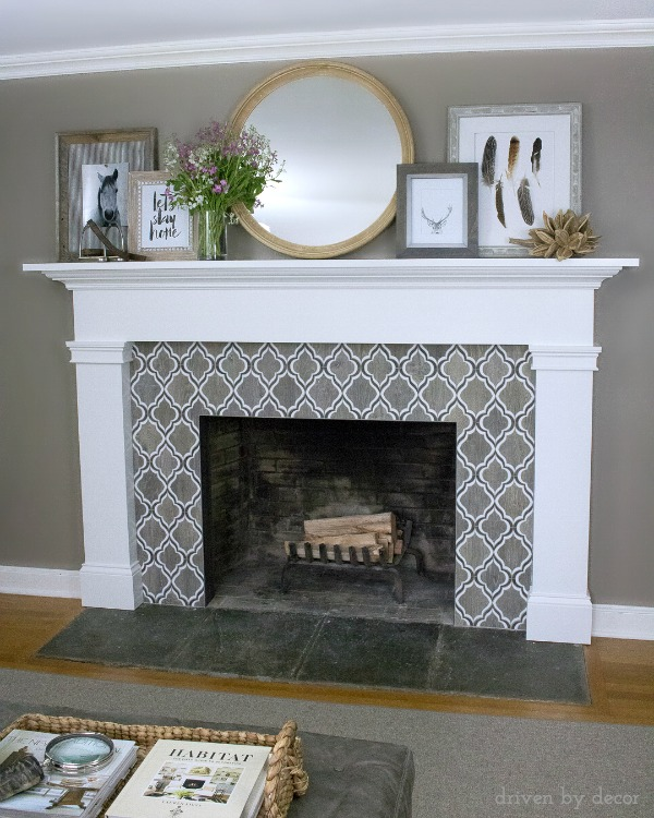 Such a gorgeous firepace - loving the tile and layered art on the mantel!